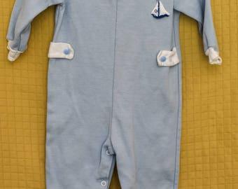 Vintage 1950s TINY WORLD 50s Sailboat blue onesie