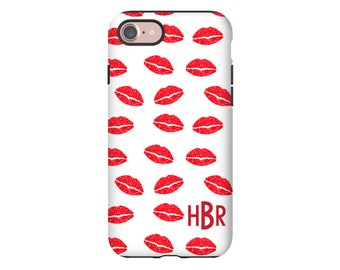 Valentine iPhone 8/8 Plus case, lips iPhone 7/7 Plus case, Valentine iPhone X case, kisses, personalized gift for her, Valentine gift
