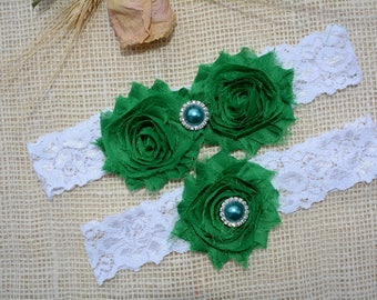 Wedding Garter, White Garter Set, Emerald Garter, Bridal Clothing, Garter For Wedding, Garter For Brides, Lace Garters, White Keep Garter