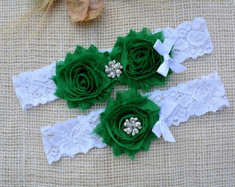 Emerald Garter, Green Garter, Garter Set, Keepsake Garter Set, Forest Green Garter, Unique Garter, White Garter Set, White Green Bridal