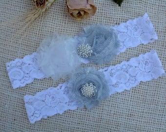 Garter Grey Flower, Glitter Garter Set, Grey Bridal Set, Silver Garter Set, Garter Grey, Garter For Brides, Keep Garter, Grey Bridal Garter