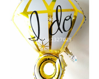 10pcs/lot New Design Wedding I DO Foil Balloons Valentie's Day Cartoon Diamond Ring Balloon Helium Air Balls Wedding Decoration