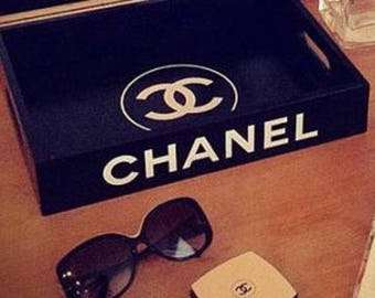 Chanel black rectangular tray