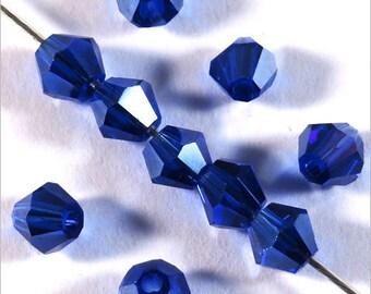 40 Czech Bicone 4mm dark blue Crystal beads
