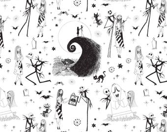 """In Stock: Disney Fabric-  The Nightmare Before Christmas - Jack & Sally in White by Camelot 100% cotton Fabric by the yard 36""""x44"""" (CA177)"""