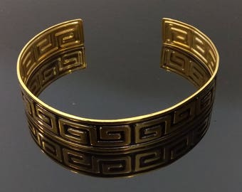 Vintage Hand Painted Arm Cuff - Greek Key Design (Gold)