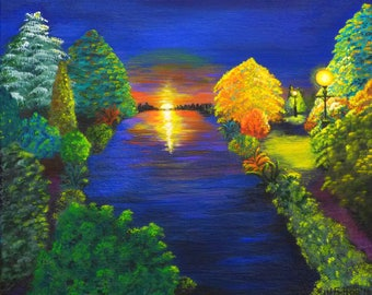 Lake Serene - Original Unframed painting on canvas board by Evelyn Feltoe,wallart decor,yellow,lake,lamp,blue,green,romantic,trees 25x30.5cm