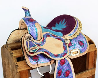 Purple Turquoise & Pink Tooled leather Handmade western Horse Rawhide Trail Pleasure Barrel Racer Racing Saddle