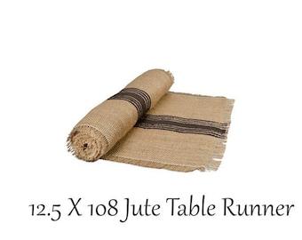 Table Runner, 12.5 X 108 Jute Table Runner , Black Stripe, Table Linens, Rustic Wedding, Farmhouse look
