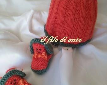 """baby hat and booties """"sweet pumpkin"""""""