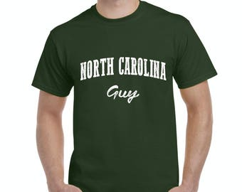 Free Shipping! Blue Tees NC North Carolina Flag Charlotte Map 49ers Home of University of NC UNC Guy Men's T-Shirt Tee