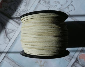 Beige Faux Suede Leather Cord, Faux Suede Cord, 1 Yard 3mm Beige Flat Cord, Lace Bracelet Cord  Lace String Rope Flat Thread for Jewelry