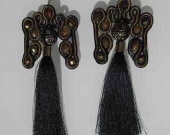 """Earrings Kolcyzki Earring """"Buddha's journey"""" Soutache Sutasz Crystals Kryształy crystals"""