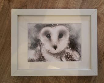 Framed owl print // owl print // owl gifts // owl wall art // owl art // owl decor // owl painting // owl drawing // gifts for owl lovers