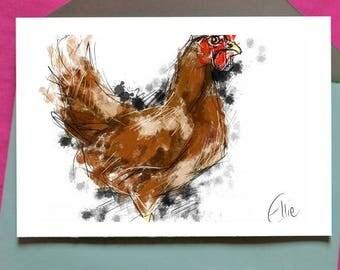 Chicken card // chicken birthday card // chicken greetings card // gift for chicken lover // card for chicken lover // chicken gifts
