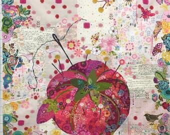 Pincushion Collage pattern by Fiberworks, Laura Heine,
