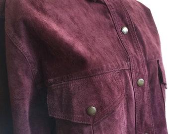 1980s Burgendy Leather Shirt Jacket