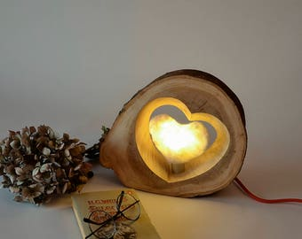 Modern Lighting, Wooden Lamp, Table Lamp, Desk Lamp, Gift for home, Hand made, Birthday gift for man or woman, Wood and felt lamp