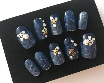 Turtles/Ocean/Gel nail/Press on nail/Summer beach /Water pattern/Aquarium/ Starfish and shell/glue on nails
