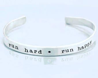 Run Hard.Run Happy Cuff. Sterling Silver Running Cuff