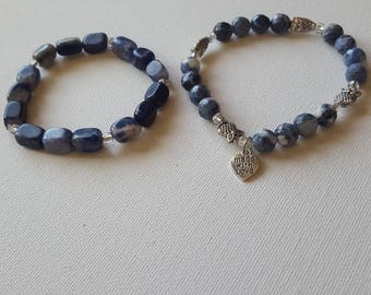 Sodalite bracelet set with owl accents. .
