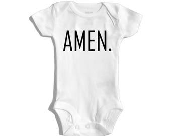 Amen bodysuit- faith based bodysuit- black&white kids' clothing- christian apparel- christian baby bodysuit- little church kid - modern baby