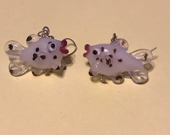 Handcrafted glass fish earrings