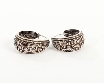 Sterling Silver Oxidised Bali Oval Hoop Earrings