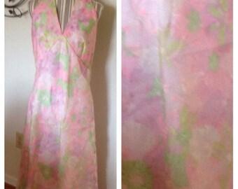On Sale Vintage Pastel Floral Halter Dress