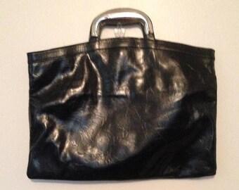 On Sale Vintage Black Bag with Silver Handle