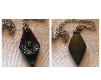 Anniversary Sale Vintage Rainbow Glass Pendant Necklace