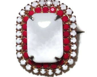 Vintage White and Red Ring