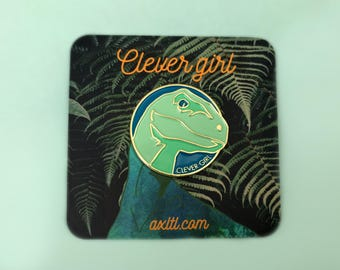Clever girl velociraptor dinosaur Jurassic Park enamel pin - AVAILABLE NOW!