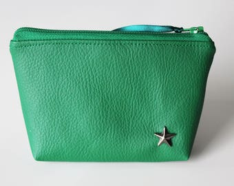 Wallet / green leatherette card holder and Star