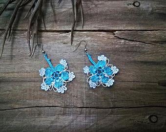 Sky blue soft earrings Turkish oya earrings Turkish crochet earrings Seed beads earrings Blue lace jewelry Flowers floral jewelry Fashion