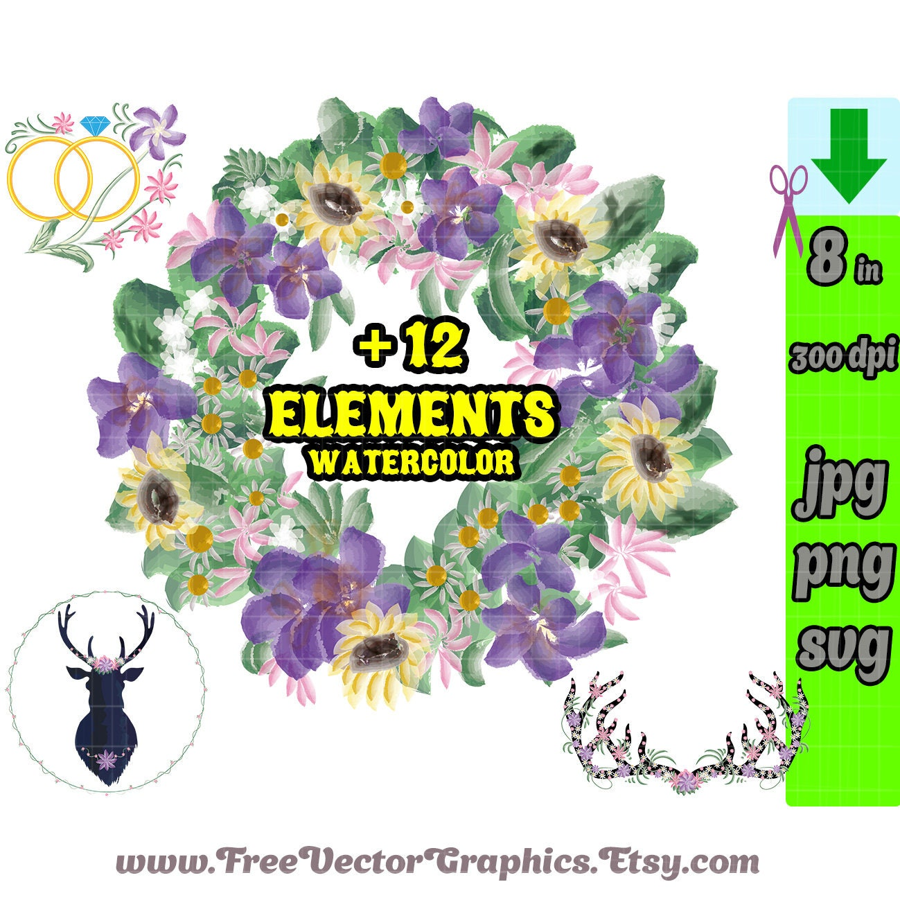 Bride Svg Png Dxf Gold Rustic Watercolor Floral Wedding Clipart Purple Flower Boho Clip