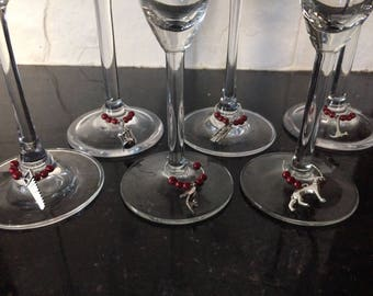 Tibetan Silver Wine Glass Charms - A perfect Stocking filler for Christmas
