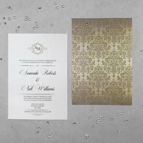 Wedding invitation sets in gold, Elegant vintage wedding invitations, Custom monogram wedding invitations, Wedding invitations online A5