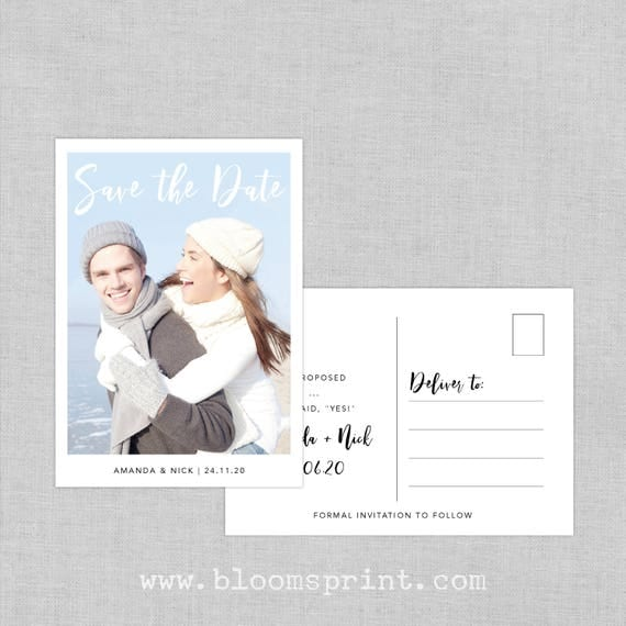 Save The Date Photo Postcard, Save the date postcard template, Wedding save the date post card, Unique save the date cards, A6