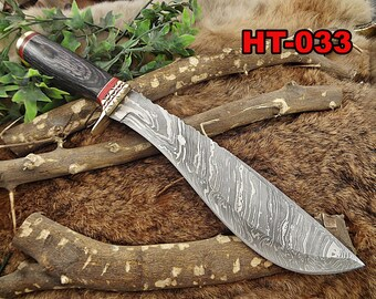 "Damascus Steel Kukri Knife 15 Inches custom made Hand Forged With 10"" long blade, Bull horn with engraved brass scale, Cow Leather Sheath"