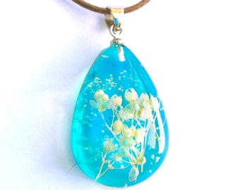 Dew drop necklace resin Terrarium necklace with natural flowers white in blue drop crystal pendant necklace gift from bride gift under 25