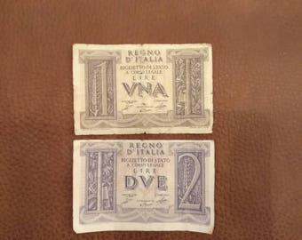2 Italian Banknotes, 1 Lira, 2 Lira from 1930's