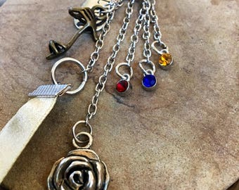 Beauty and the Beast, Belle, Beast, Disney Inspired, Silver, Bronze, Cubic Zirconia, Rose, Shoe, Ribbon, Love, Long, Charm Pendant Necklace