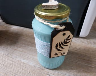 Turquoise decorative glass jar