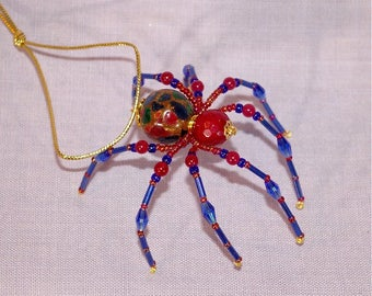 Christmas Spider Ornament - multicolored, red and blue