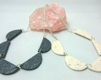 Scallop bunting necklace   Half circle collar necklace   Ladies geometric bib necklace   Modern necklace   Semi - circle bunting necklace