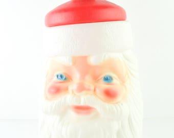 1973 1976 Vintage Santa Cookie Jar Blow Mold Plastic Empire Plastics Retro Christmas Decor Kitchen