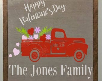 Valentine's Day Personalized John 3:16 Wall Hanging Sign, Vintage Truck, Flower Shop, Farmhouse Valentine's Day decor