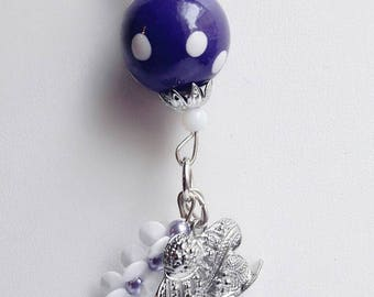 Pendant on purple dots, handmade Pearl Necklace