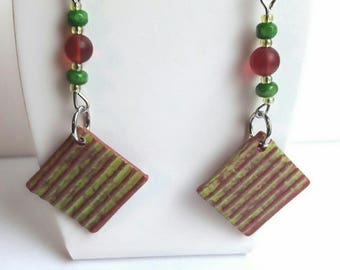 Earrings red and green beads hands, designer jewelery